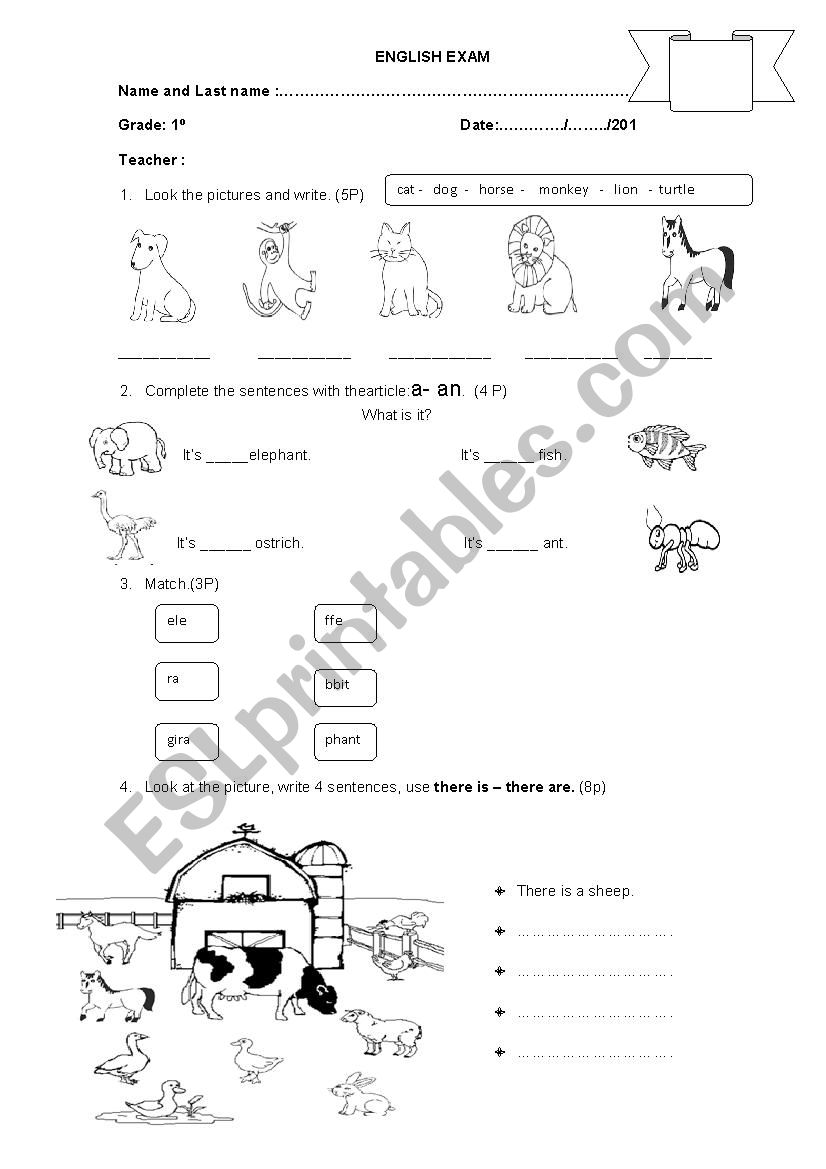 - English Exams For Primary Level - ESL Worksheet By Luz29