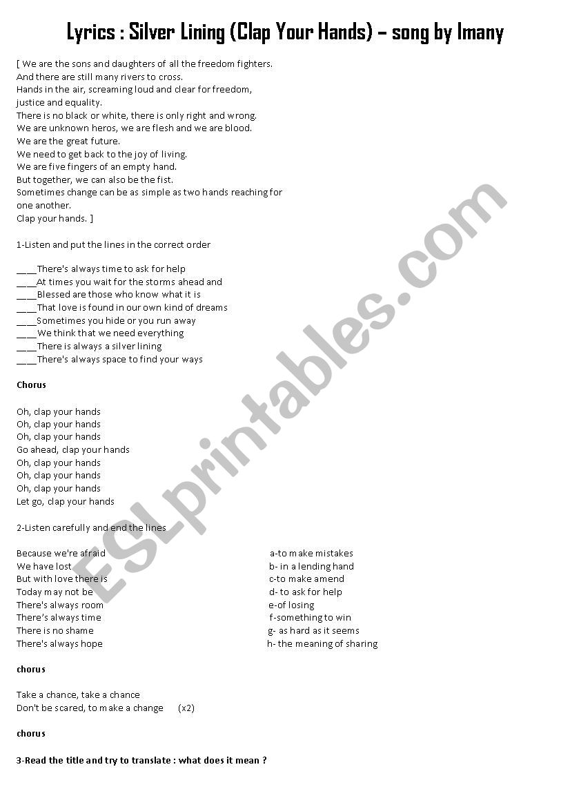 Imany - Silver Lining - ESL worksheet by lilou12