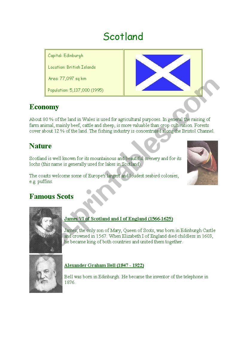 Scotland facts worksheet