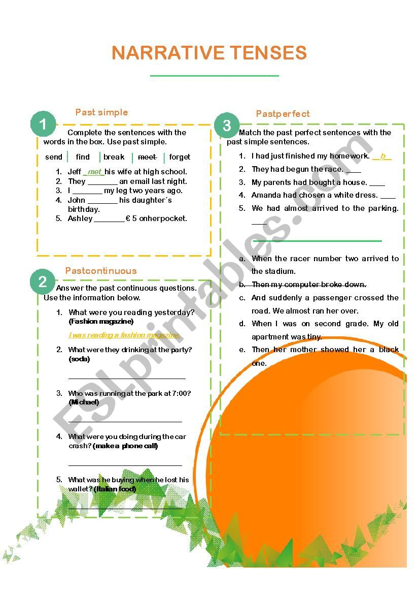 Narrative Tenses worksheet