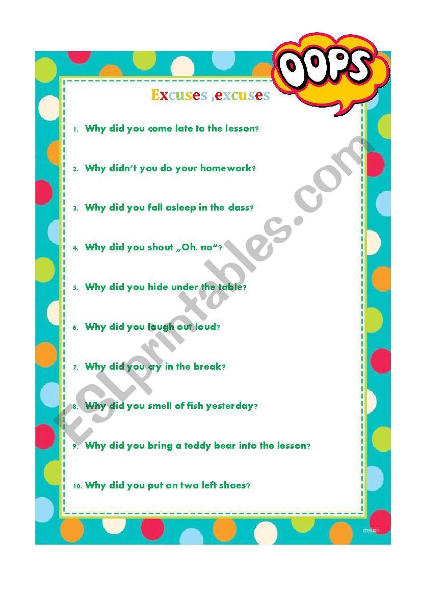 Excuses, excuses worksheet