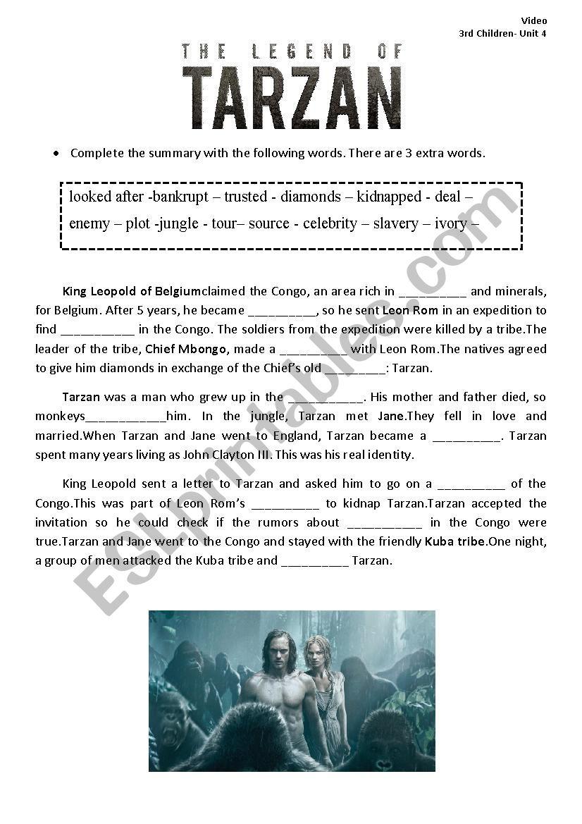 The Legend Of Tarzan 2016 Movie Summary Esl Worksheet By Giselladiaz