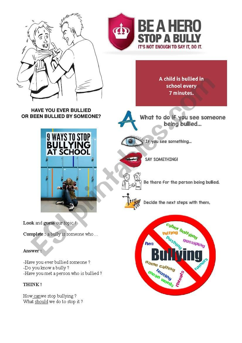 Anti Bullying Worksheet Esl Worksheet By Angelica17