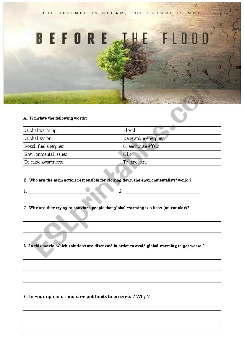 Before The Flood Worksheets & Teaching Resources | TpT