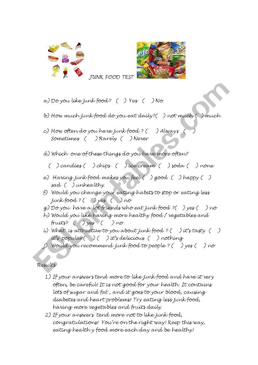 JUNK FOOD TEST worksheet