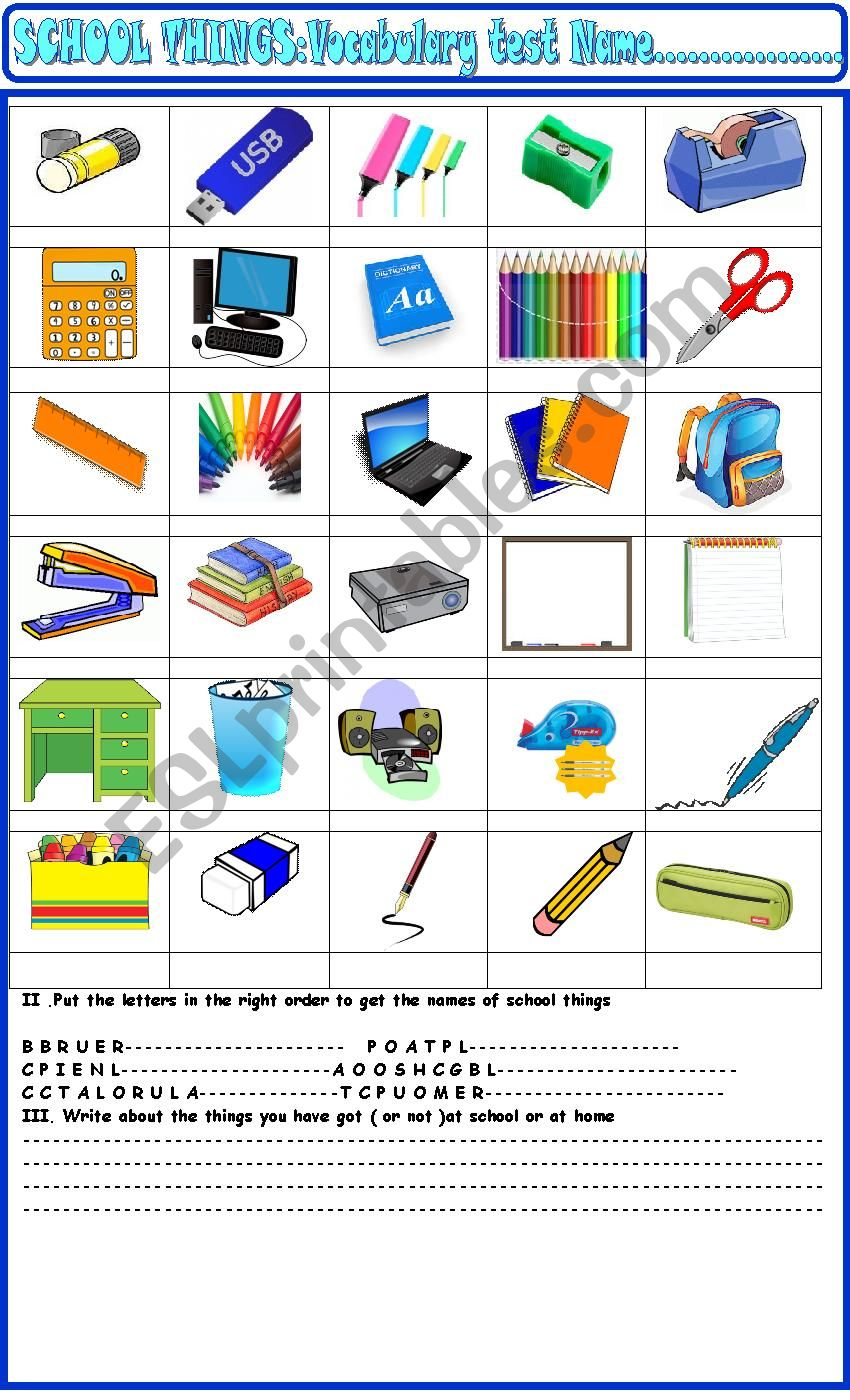 School things : test for young learners