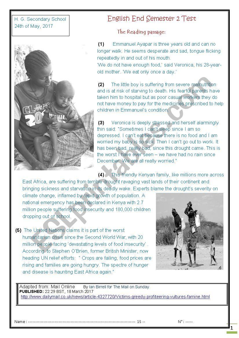 Reading Comprehension END OF SEMESTER TWO TEST - ESL worksheet by