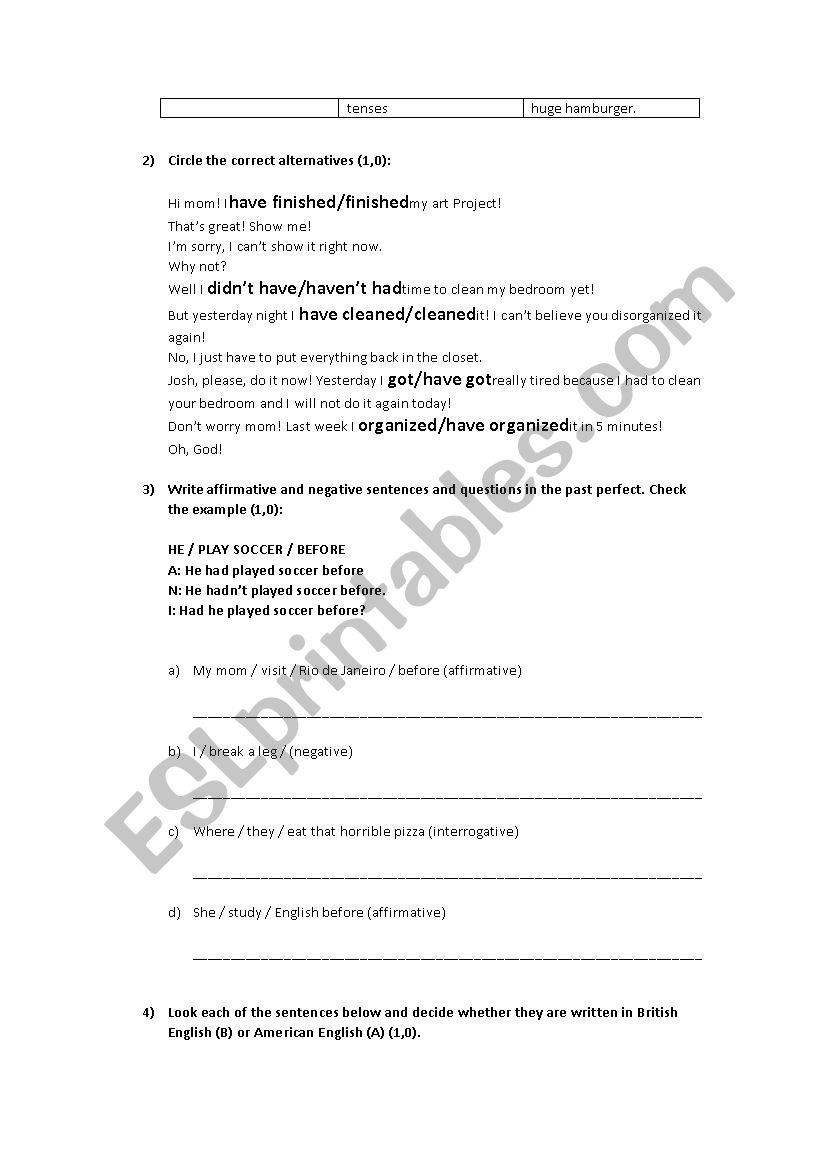TEST - TENSE REVIEW, CONDITIONALS AND BRITISH X AMERICAN ENGLISH