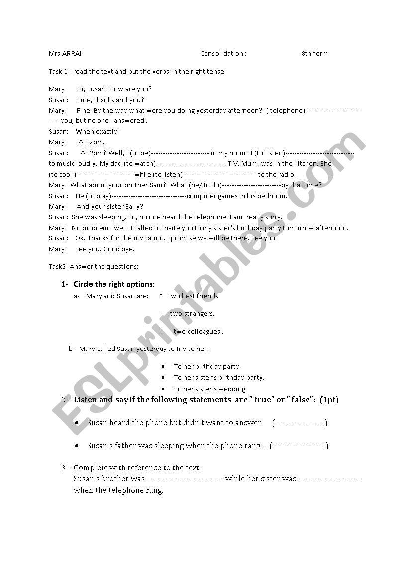 cosolidation worksheet