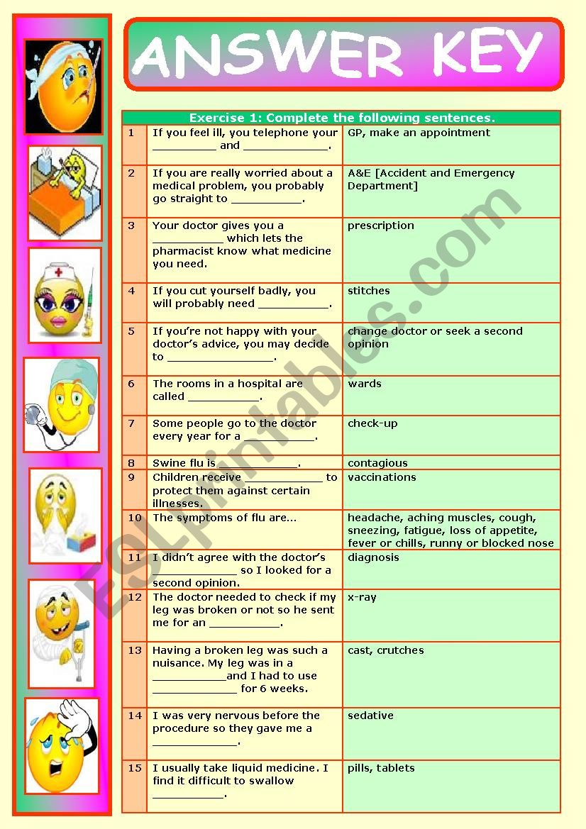 ALL ABOUT ILLNESS, HOSPITALS ETC , 2-PAGE WORKSHEET, KEY