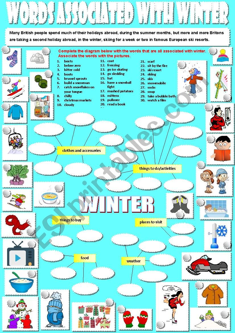 English worksheets: Words associated with winter.