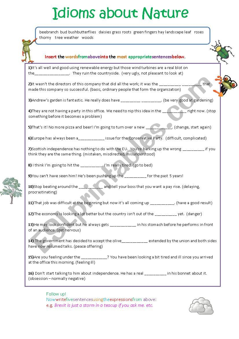 idioms about nature esl worksheet by spinney. Black Bedroom Furniture Sets. Home Design Ideas