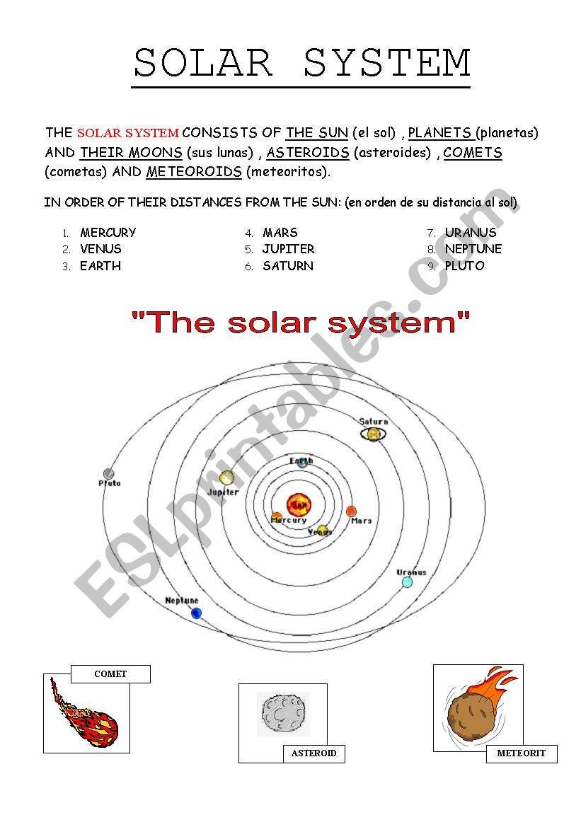THE SOLAR SYSTEM   ESL worksheet by lolamora3