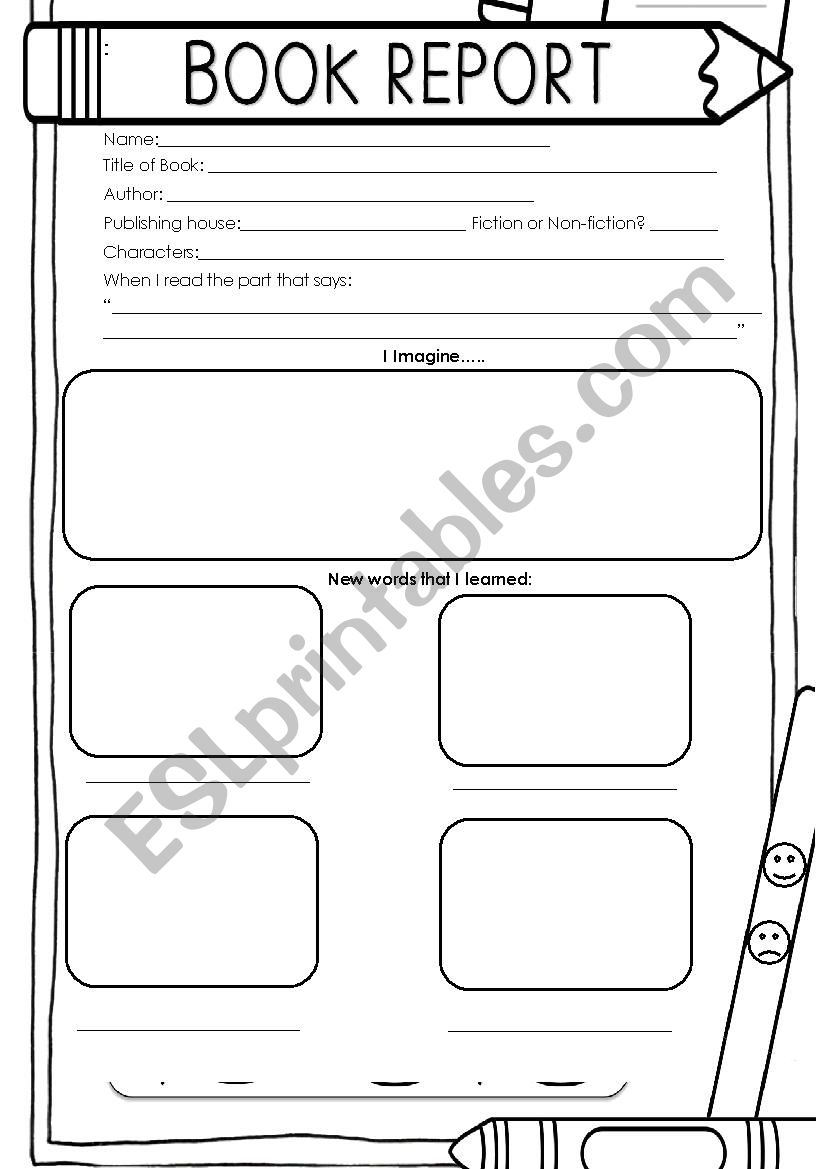 Book Report Esl Worksheet By Alyrya