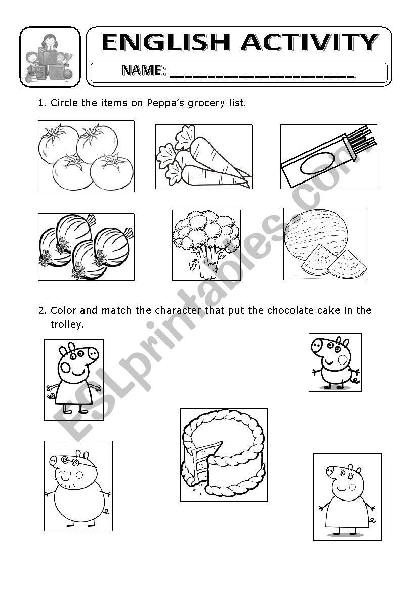 grocery list - peppa pig worksheet