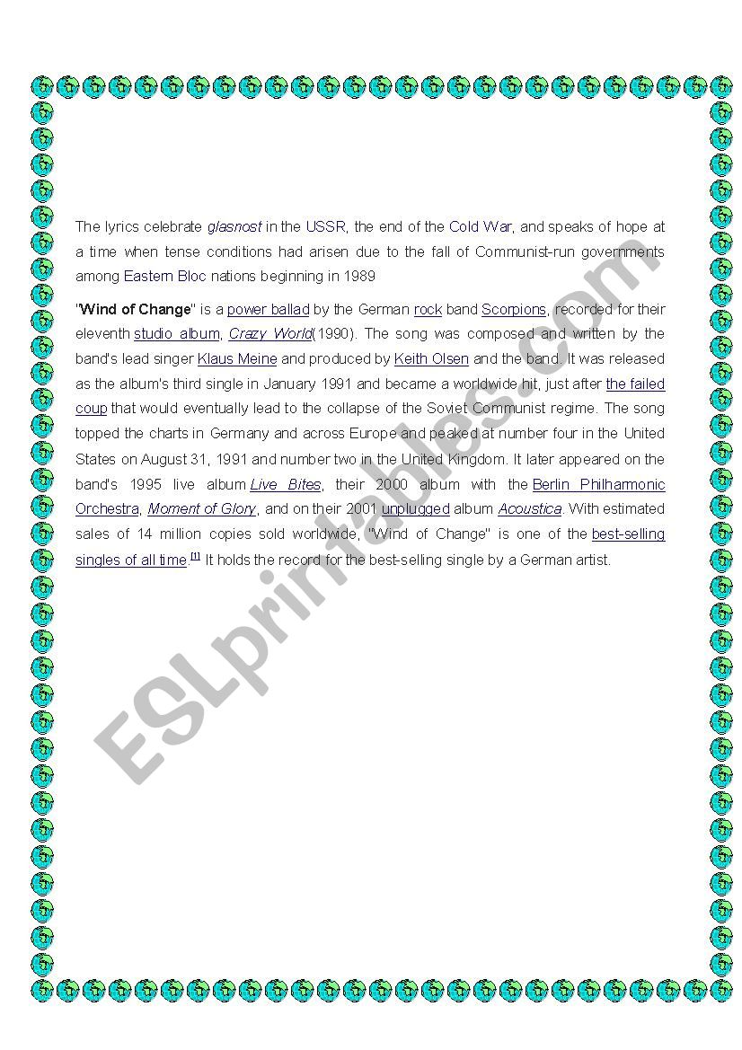 English worksheets: (Song activity) Wind of change - Scorpions