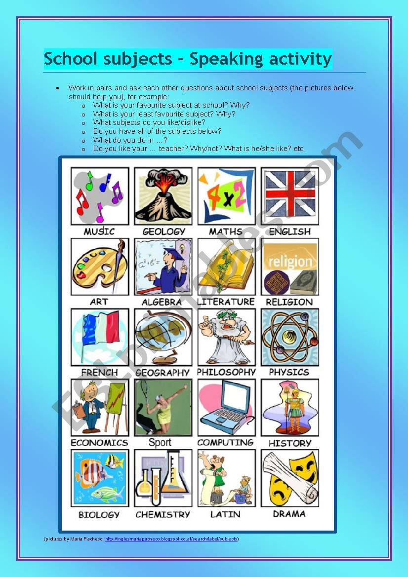 School subjects - speaking activity