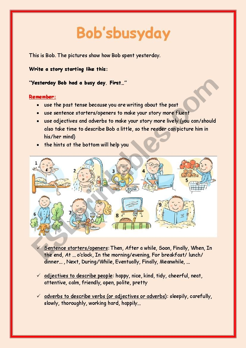 Bob´s busy day worksheet