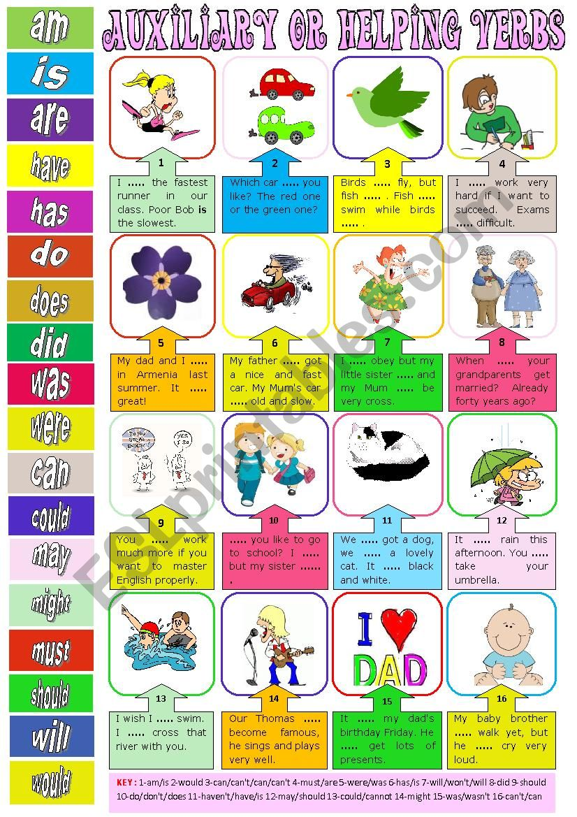 Auxiliary or helping verbs + key