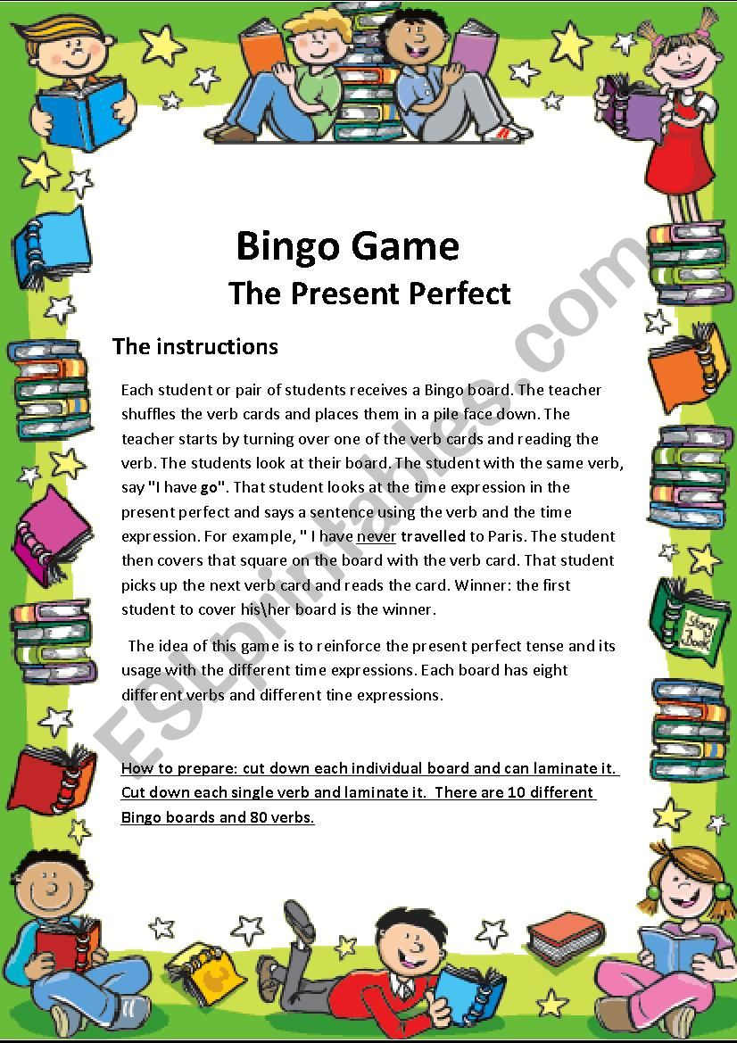 Bingo game worksheet