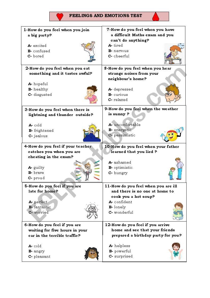 Feelings & Emotions Test worksheet