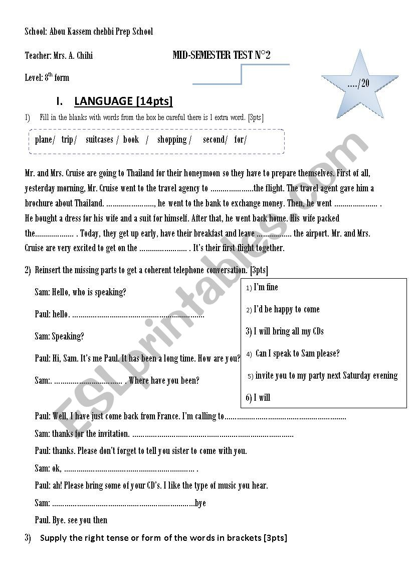 Mid of semester test n2 worksheet