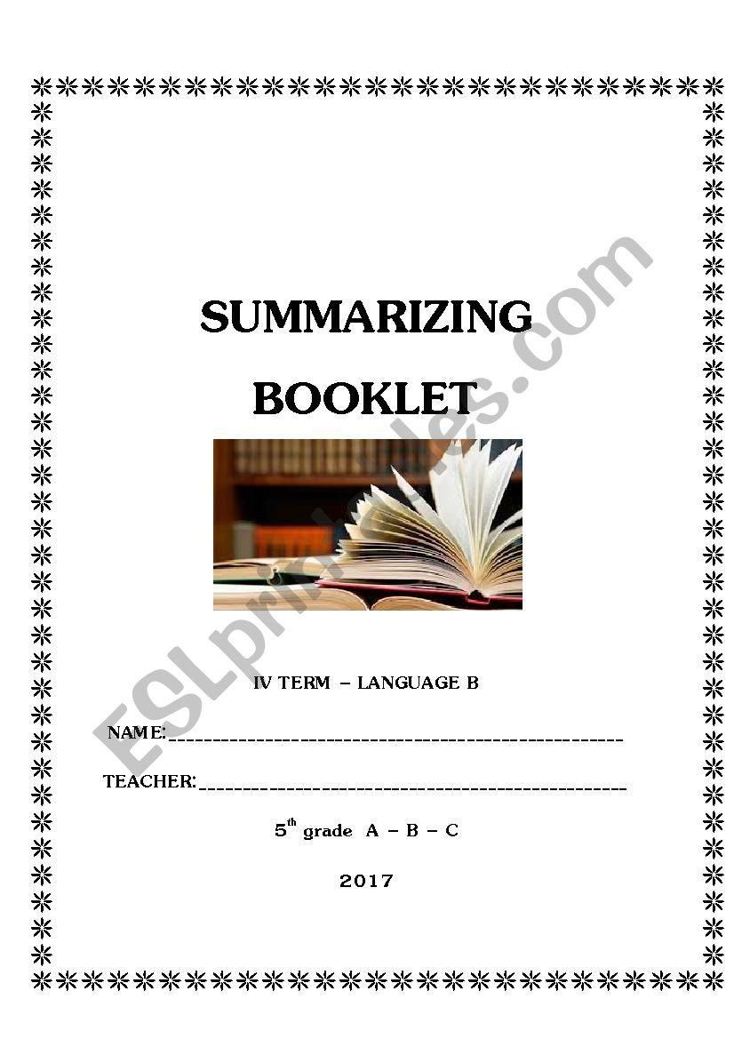 Summarizing Booklet worksheet