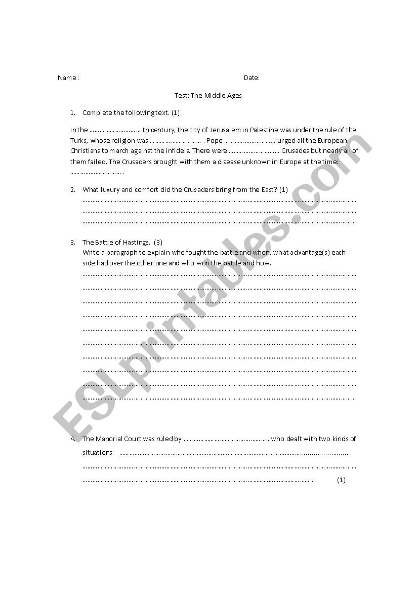 The Middle Ages worksheet