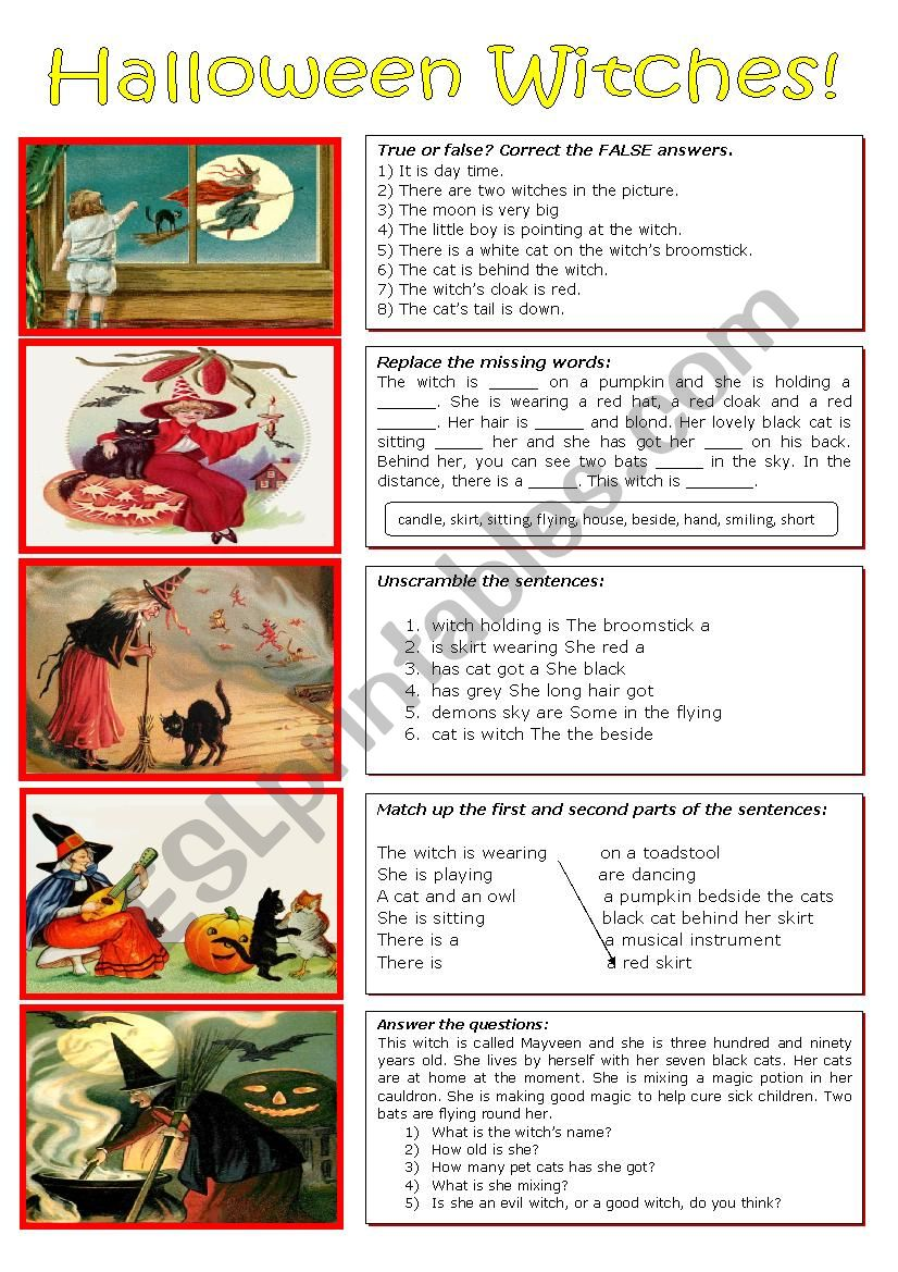 Five Witches for Halloween worksheet