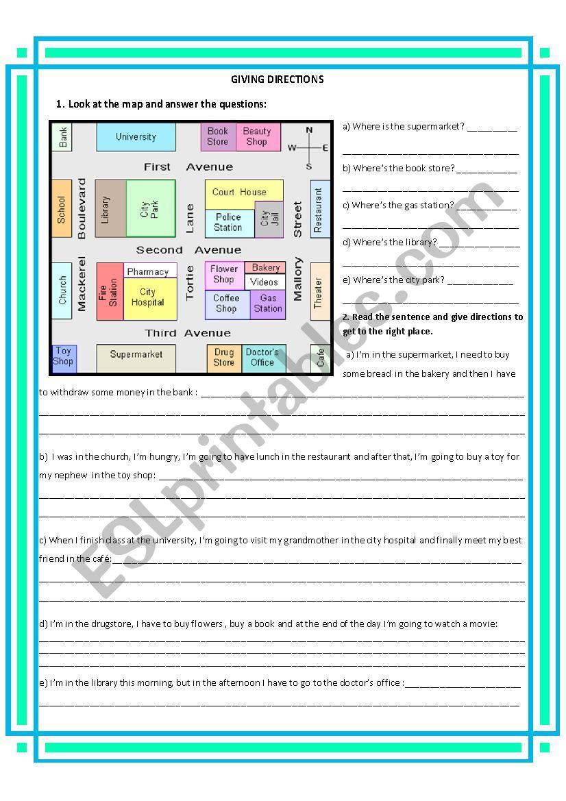 giving direction worksheet esl worksheet by mafalda1021. Black Bedroom Furniture Sets. Home Design Ideas