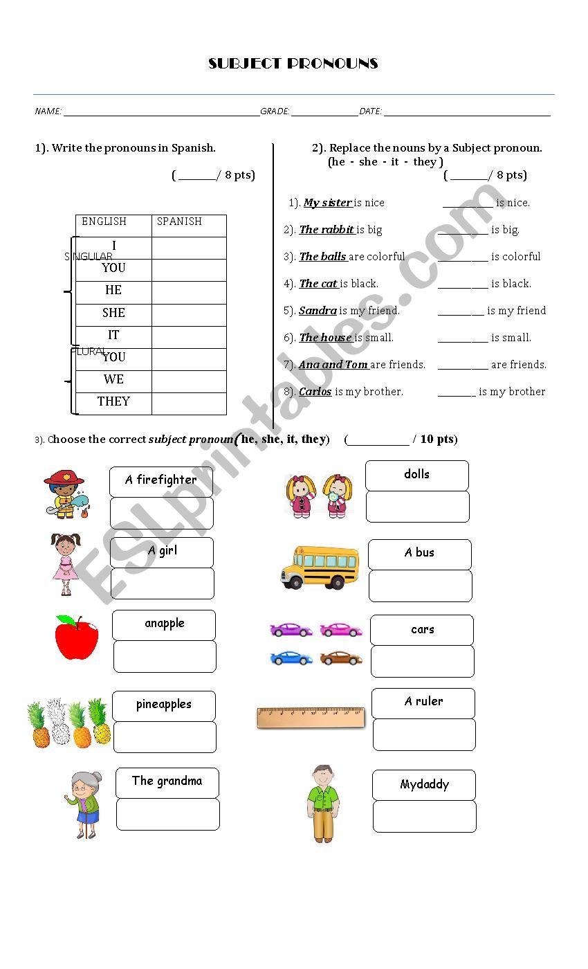 Subject Ouns Esl Worksheet By Sofiar