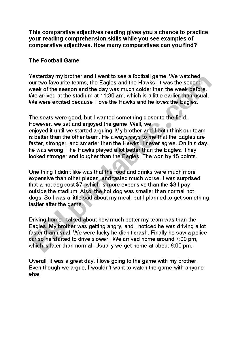 The football Game Comparative Reading