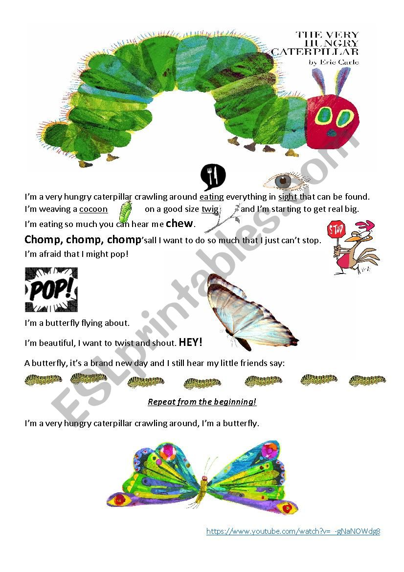 English worksheets: The very hungry caterpillar song
