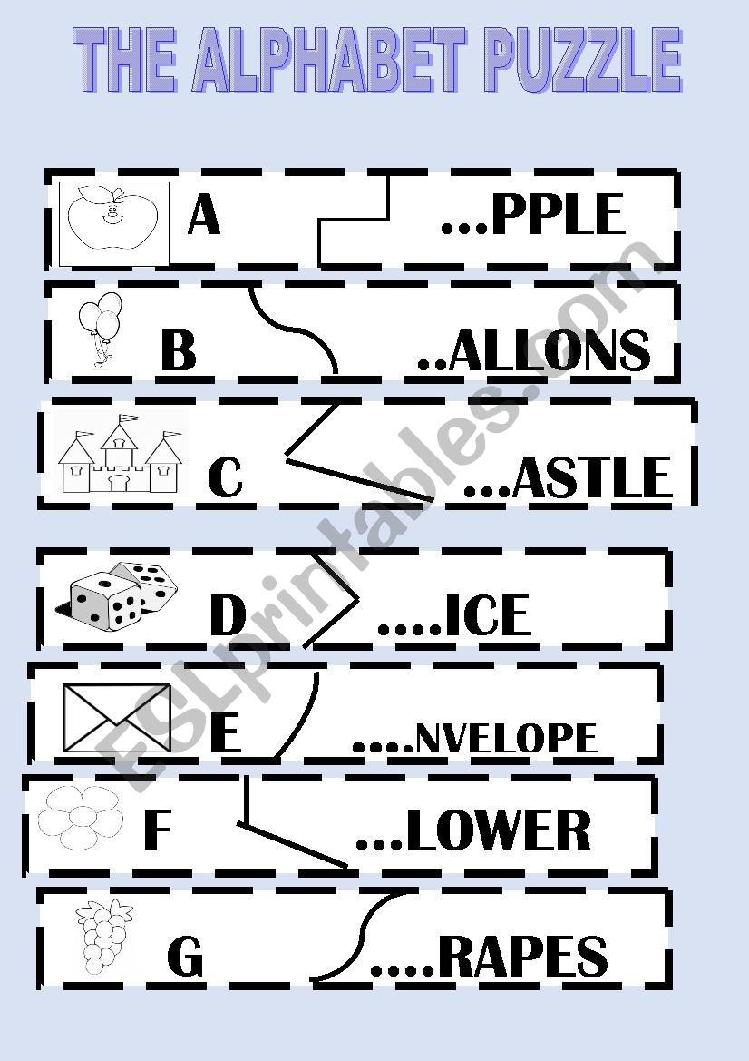 image relating to Alphabet Puzzle Printable identify ALPHABET PUZZLE - ESL worksheet via primpi