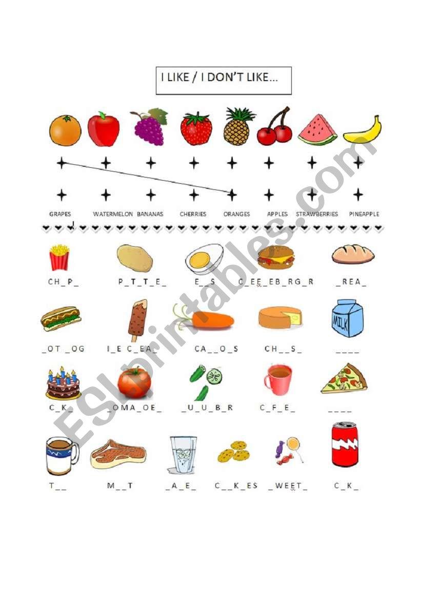food vocab worksheet