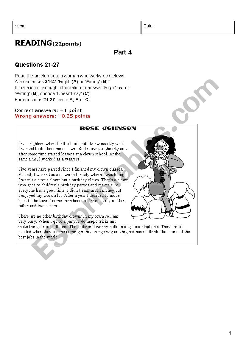 Reading B1 with key worksheet