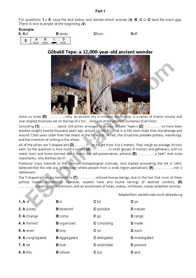 Cambridge FCE mock exam 2 - Use of English