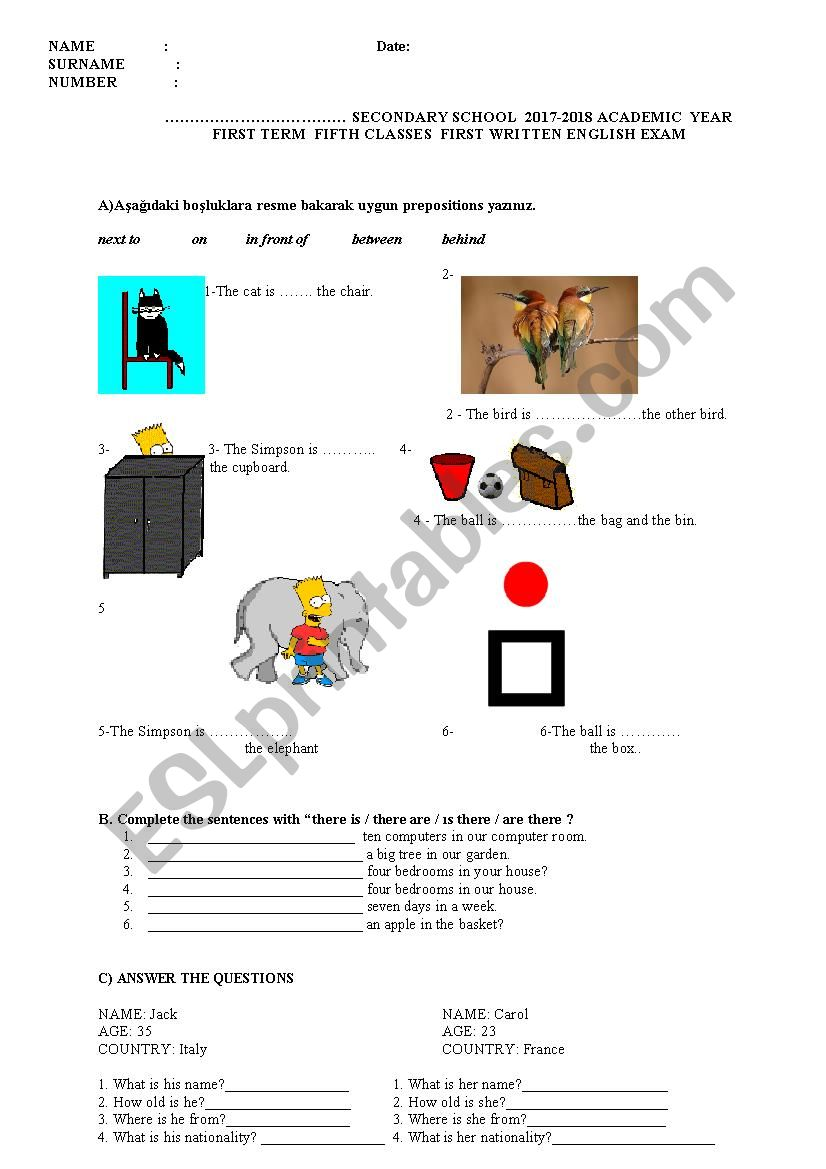 easy english for 5th grades worksheet