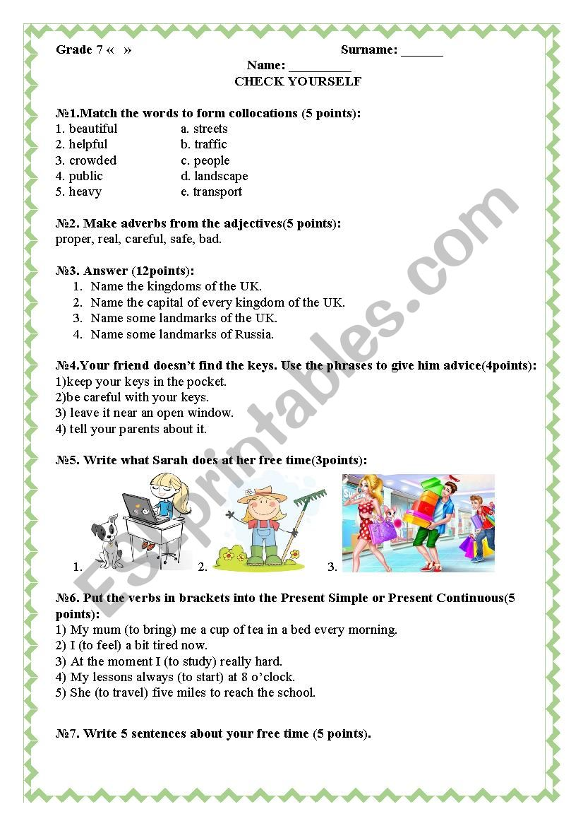 Check Yourself (Lifestyle) worksheet