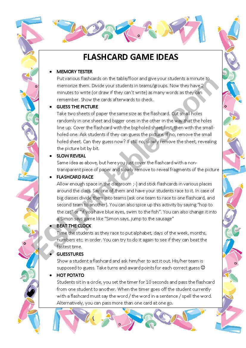 FLASHCARD GAMES IDEAS :-) worksheet