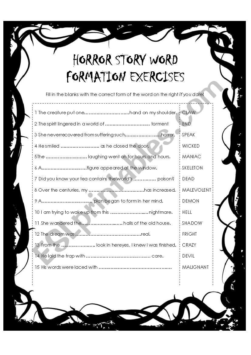 Horror Story Word Formation Exercise