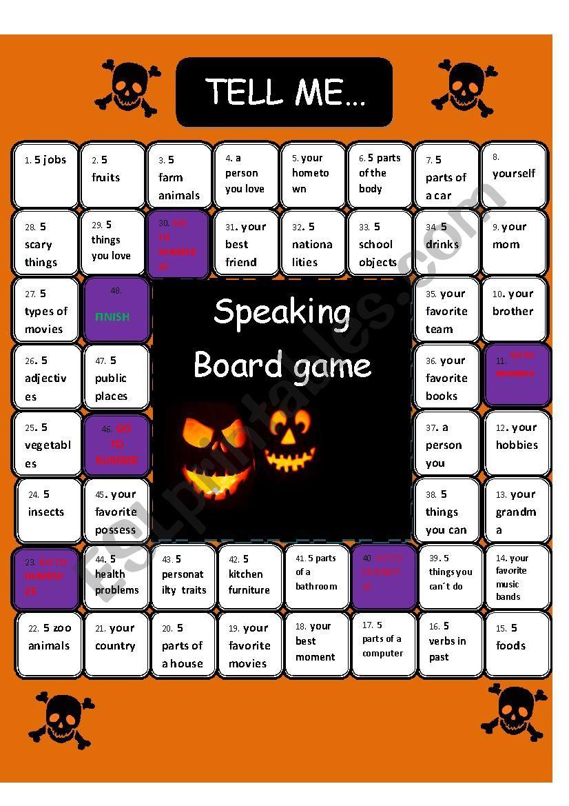 Speaking Board game Tell me 21 min activity   ESL worksheet by ...