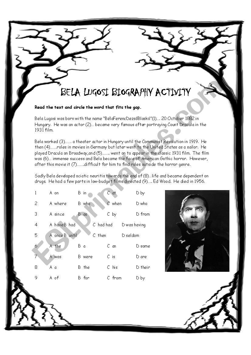 Bela Lugosi Biography Activity