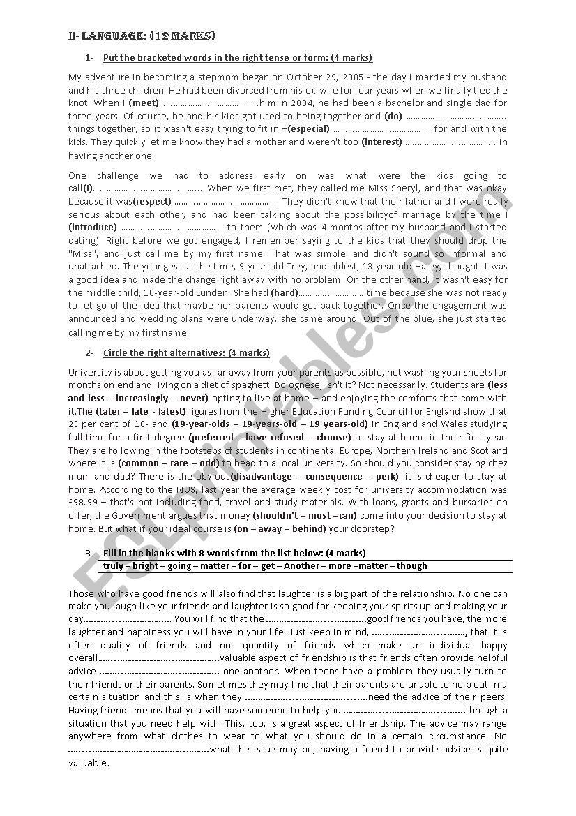 mid-semester exam 2nd grade worksheet