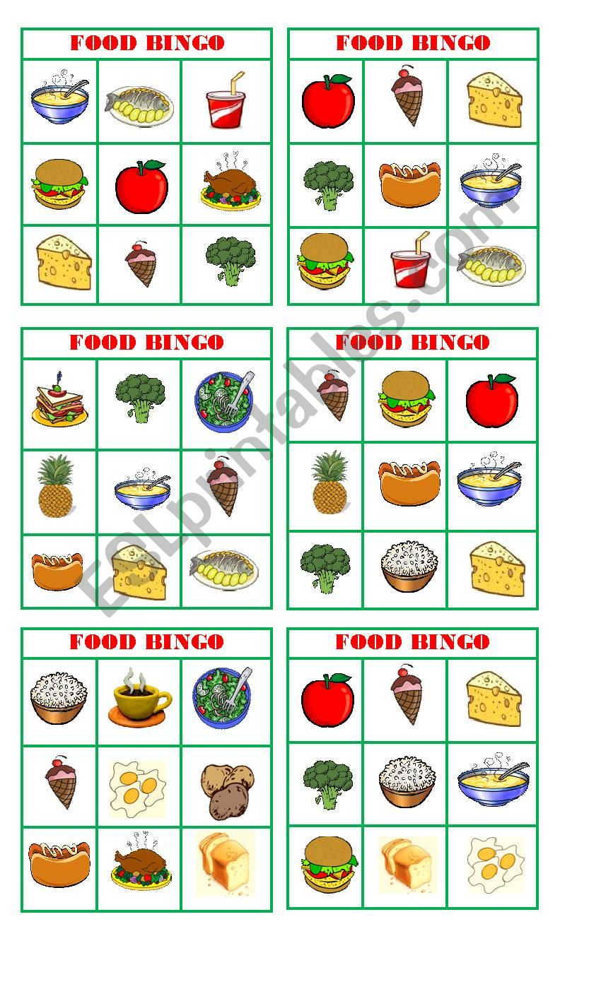 Bingo food worksheet