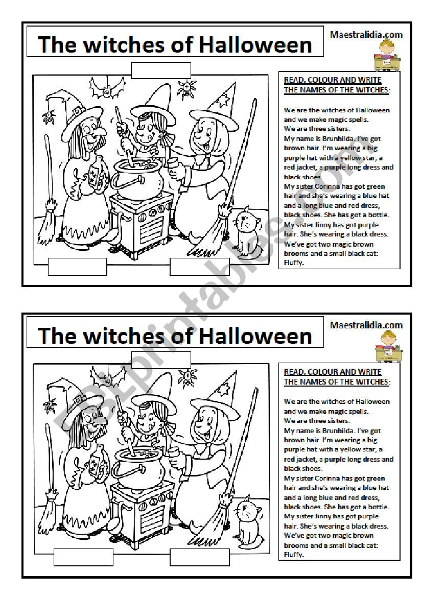 the witches of Halloween worksheet