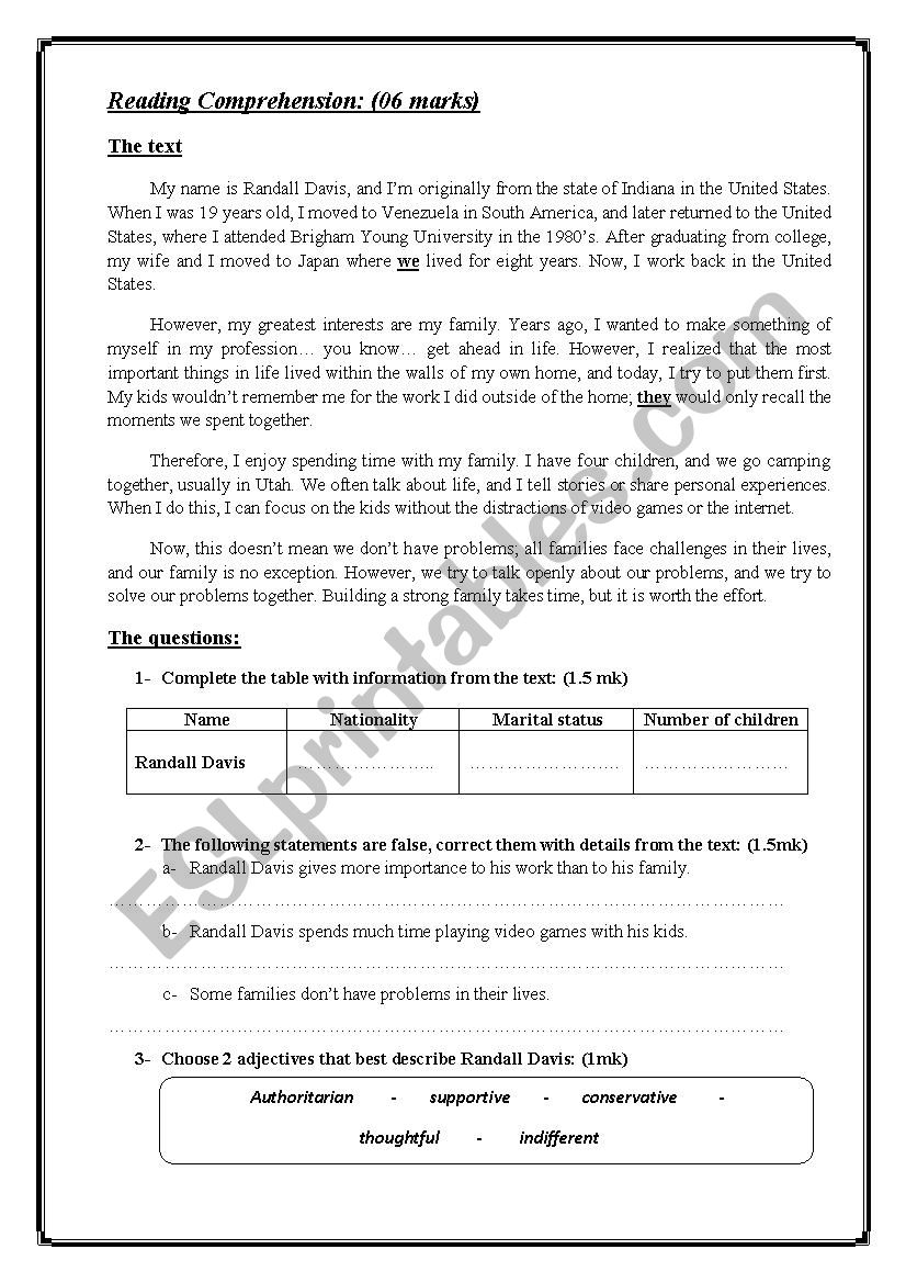 END OF TERM 1 FOR 9TH READING+LANGUAGE AND WRITING - ESL worksheet