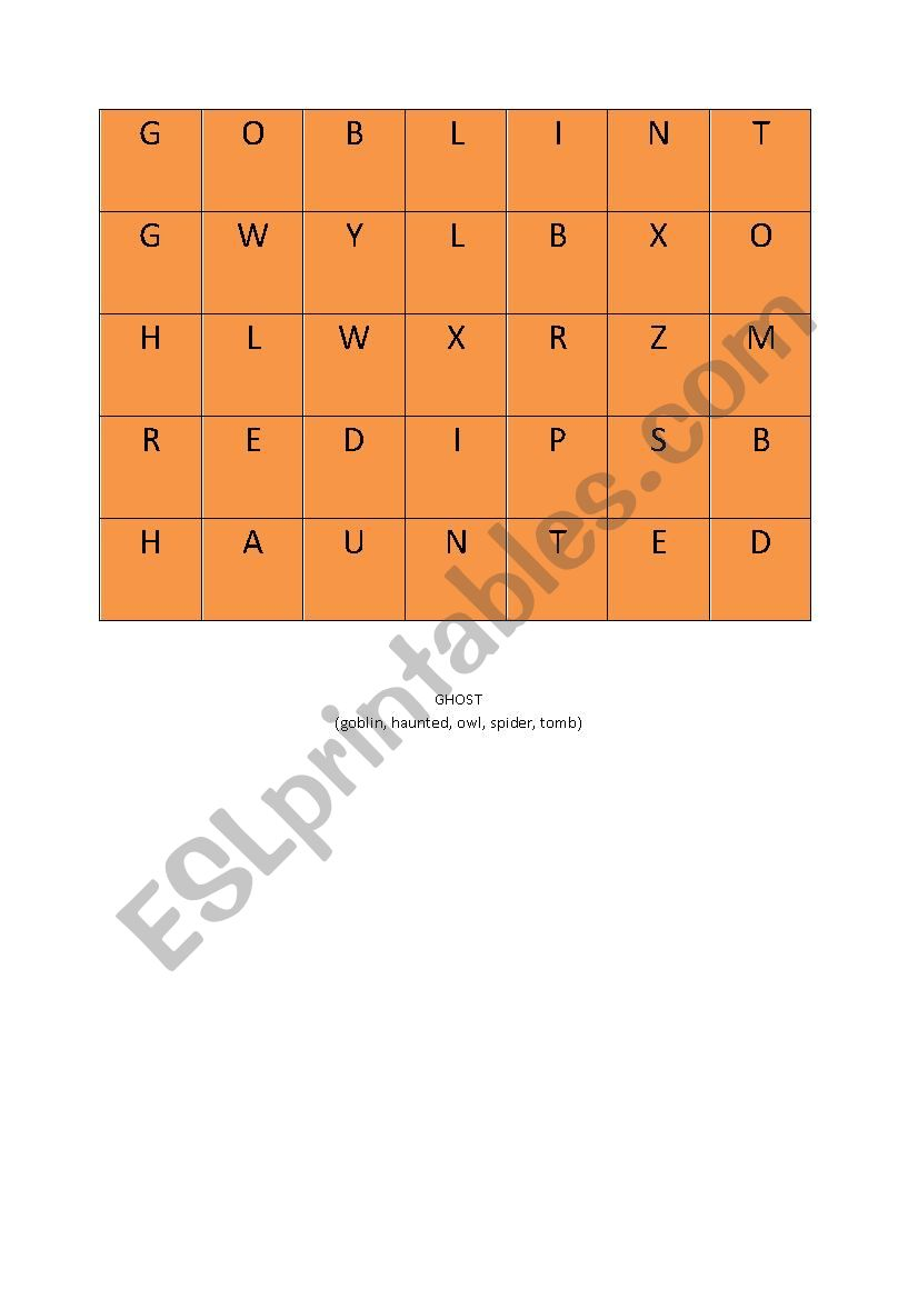 Halloween wordsearch with a hidden word - ESL worksheet by