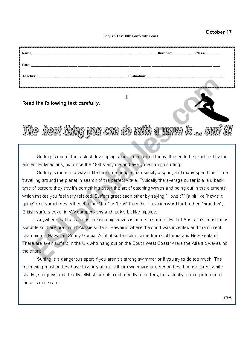 Written test - 10th Form worksheet