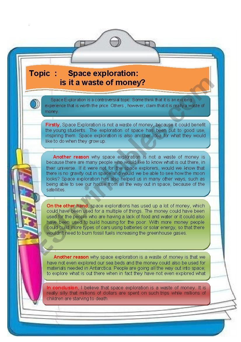 Argumentative Essay About Space Tourism  Esl Worksheet By Anuoma Argumentative Essay About Space Tourism How To Write A High School Essay also Catcher In The Rye Essay Thesis  Essay Proposal Format